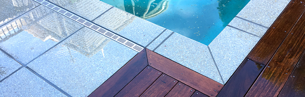 Poolside pavers close up