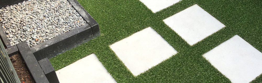Outdoor pavers as steps in grass