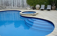 Italian Stone tiles pool and steps total renovation (Mission Bay)